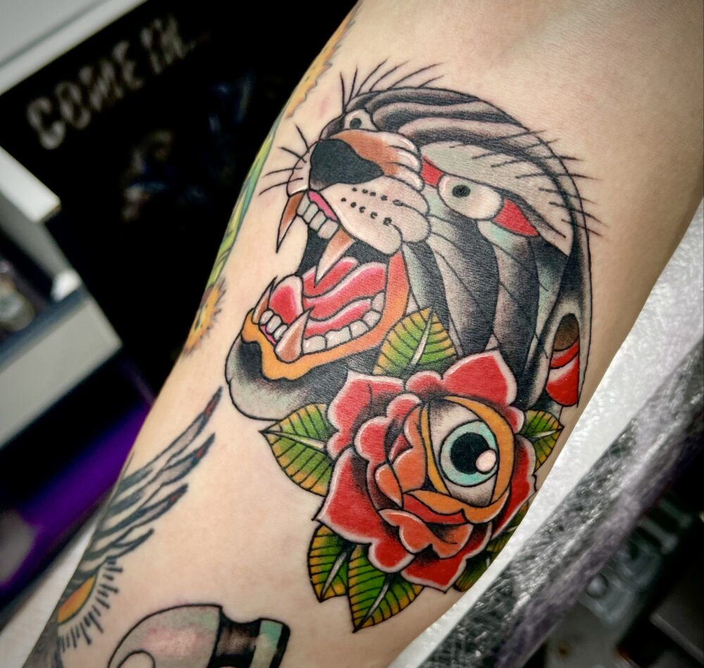 Old School Colour Tattoo Panther and Rose