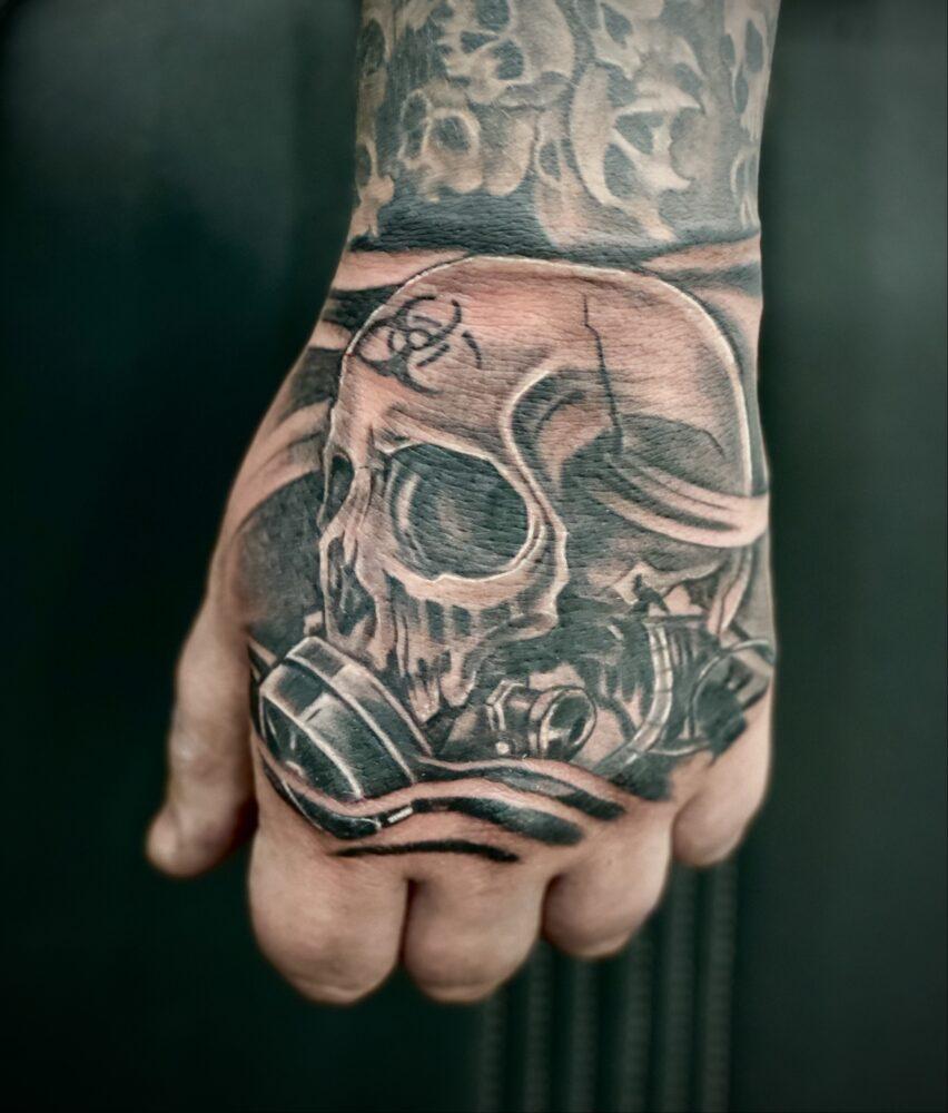 Gasmask Skull Tattoo Ramsey Tattoo Studio